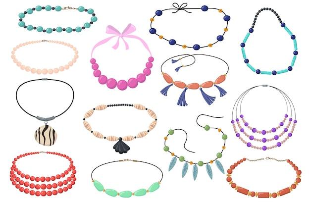 Beaux colliers avec ensemble plat de perles