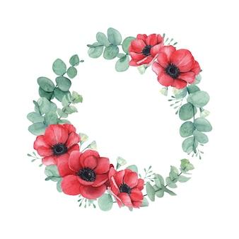 Beaux coquelicots rouges et couronnes florales d'eucalyptus