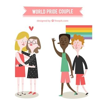 De beaux couples célébrant le jour de la fierté