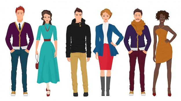 Beaux couples dans des vêtements décontractés élégants
