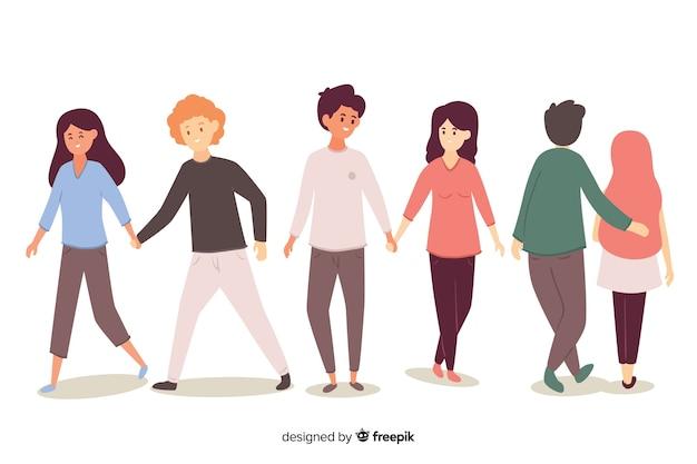 Beaux couples marchons ensemble
