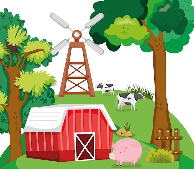 Beaux dessins animés de ferme