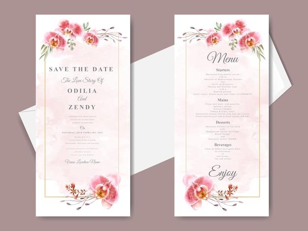 Beaux et élégants modèles de cartes d'invitation de mariage dessinés à la main floral