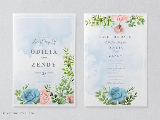Beaux et élégants modèles de cartes d'invitation de mariage floral