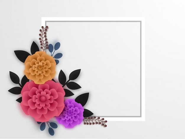 Beaux fleurs en papier avec cadre carré blanc.