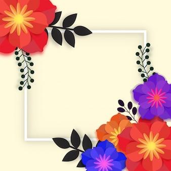 Beaux fleurs en papier avec cadre.