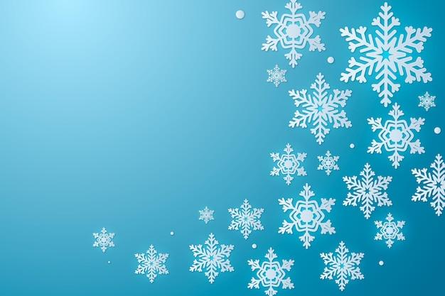 Beaux flocons de neige dans un style papier avec un espace vide
