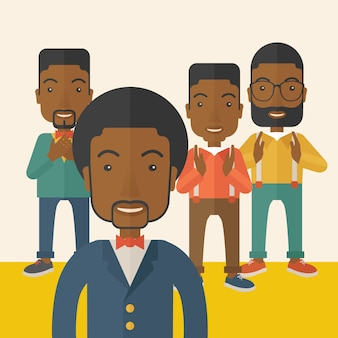 Beaux hommes d'affaires noirs.