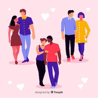 Beaux jeunes couples marchons ensemble