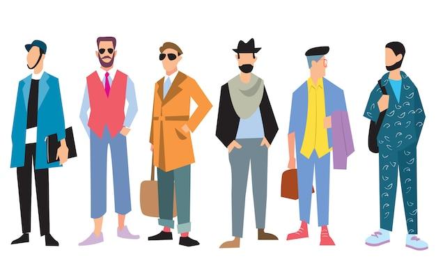 Beaux jeunes hommes en vêtements de mode