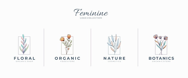 Beaux logos botaniques féminins avec des fleurs dessinées à la main