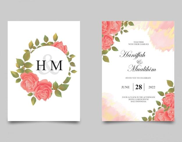 Beaux modèles d'invitation de fleur rose aquarelle