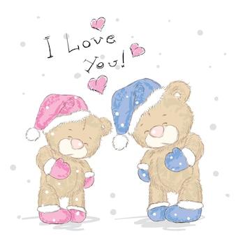Beaux ours en vêtements de noël et nouvel an
