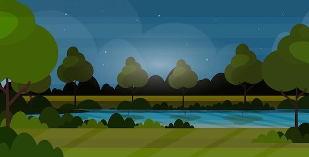 Beaux paysages dans la nature de la rivière avec des arbres autour de nuit paysage d'été fond plat horizontal