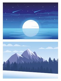 Beaux paysages avec des montagnes et des scènes de lever de soleil sur la lune