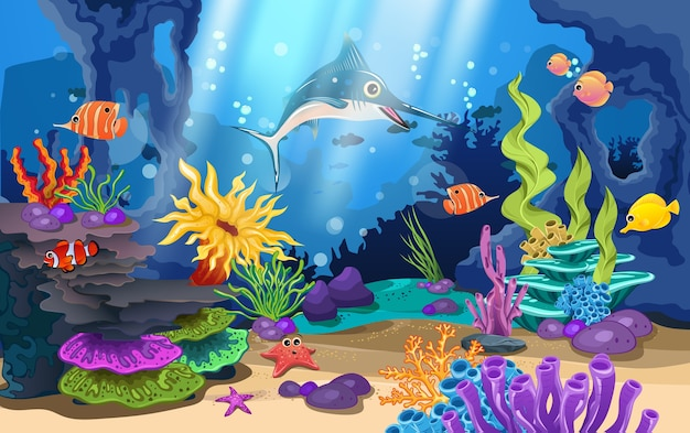 Beaux récifs coralliens et poissons dans la mer