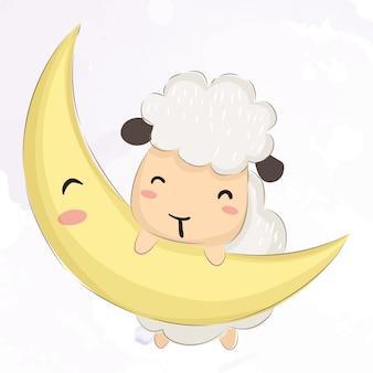Bébé agneau jouant avec la lune