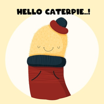 Bébé animal caterpie style plat de dessin animé mignon