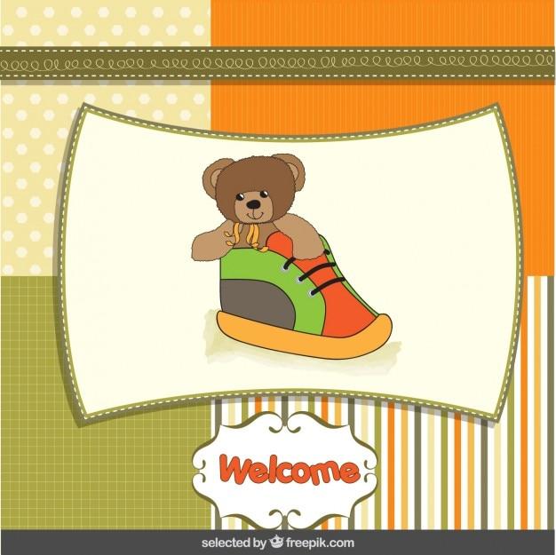 Bébé carte de douche avec ours en peluche intérieur d'une chaussure