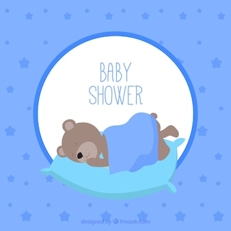 Bébé carte de vecteur de sommeil d'ours en peluche