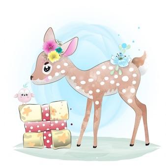 Bébé cerf peint à l'aquarelle