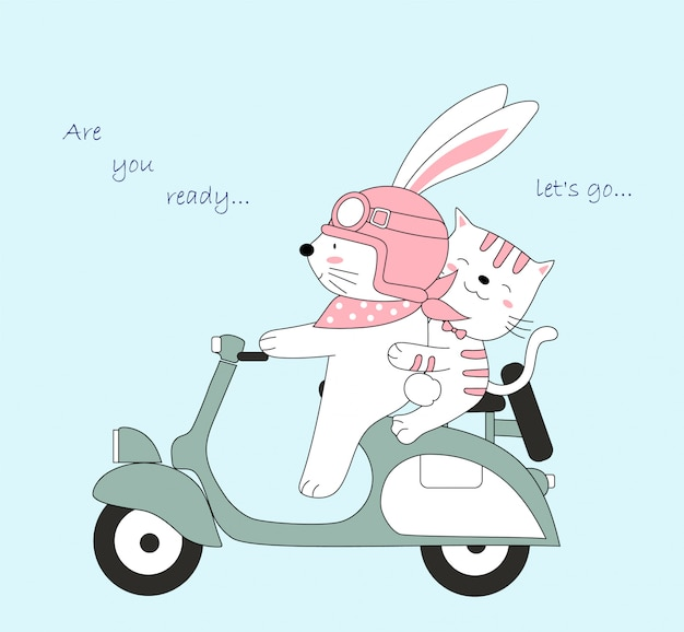 Le bébé et le chat mignons de voyager en vacances.