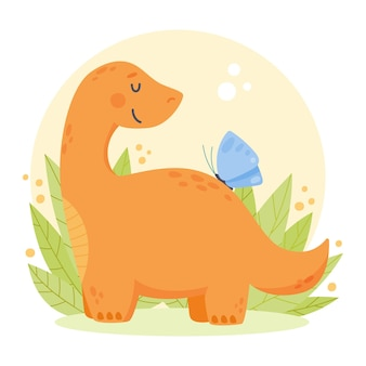 Bébé dinosaure adorable plat bio