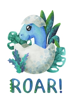 Un bébé dinosaure bleu a éclos d'un œuf et grogne. impression de dessin animé avec un diplodocus dans une coquille