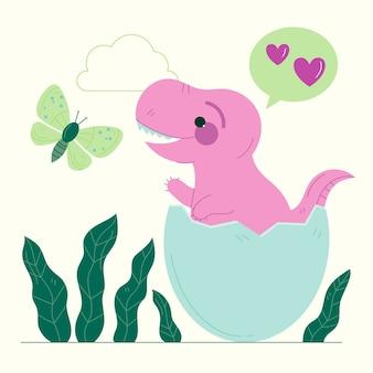 Bébé dinosaure dessiné à la main illustré