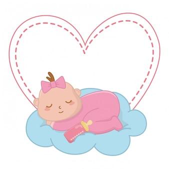 Bébé dort sur une illustration de nuage