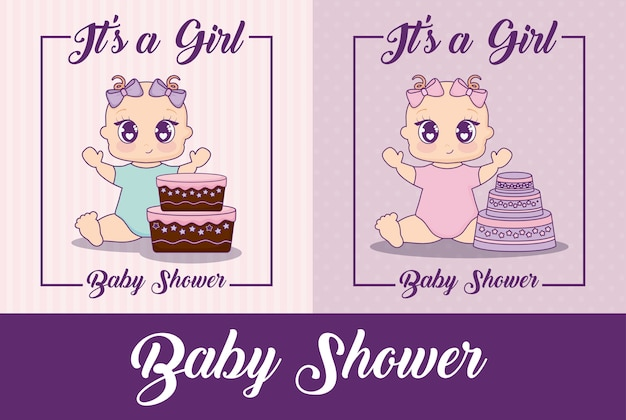 Bébé douche design vectoriel icône illustration bébé filles