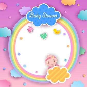 Bébé douche fille arc en ciel