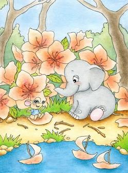 Bébé éléphant et bébé souris bavardant sur la rive