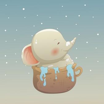 Bébé éléphant dans la tasse
