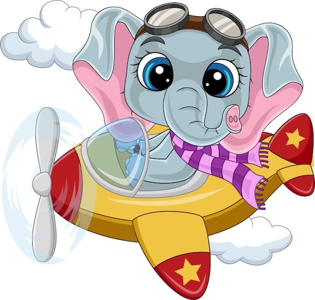 Bébé éléphant de dessin animé exploitant un avion