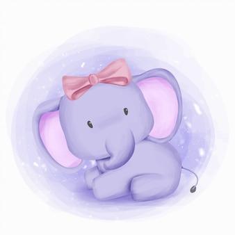Bébé éléphant fille beauté et mignon