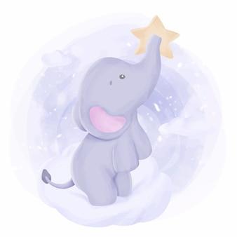 Bébé éléphant se tenir sur le nuage