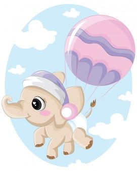 Bébé éléphant volant avec ballon dans le ciel