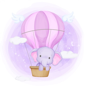 Bébé éléphant voler vers le ciel