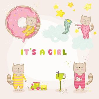 Bébé fille chat set baby shower ou carte d'arrivée