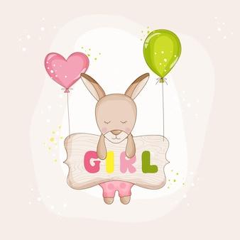 Bébé fille kangourou avec ballons - baby shower ou carte d'arrivée