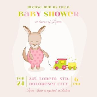 Bébé fille kangourou avec un train - baby shower ou carte d'arrivée - en