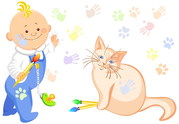 Bébé garçon de vecteur et un dessin de chat