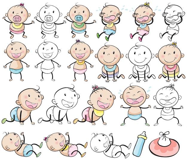 Bébé garçons et filles dans différents articles illustration