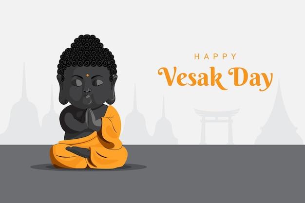 Bébé gautam bouddha méditant priant le jour du vesak