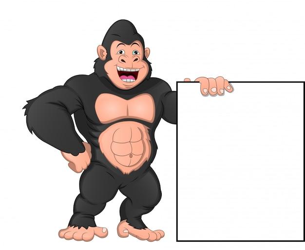 Bébé gorille dessin animé et cadre blanc