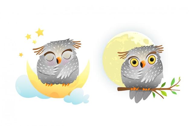 Bébé hibou animal endormi et regardant la lune assis sur la branche avec des étoiles dans le ciel. clipart mignon pour les petits enfants.
