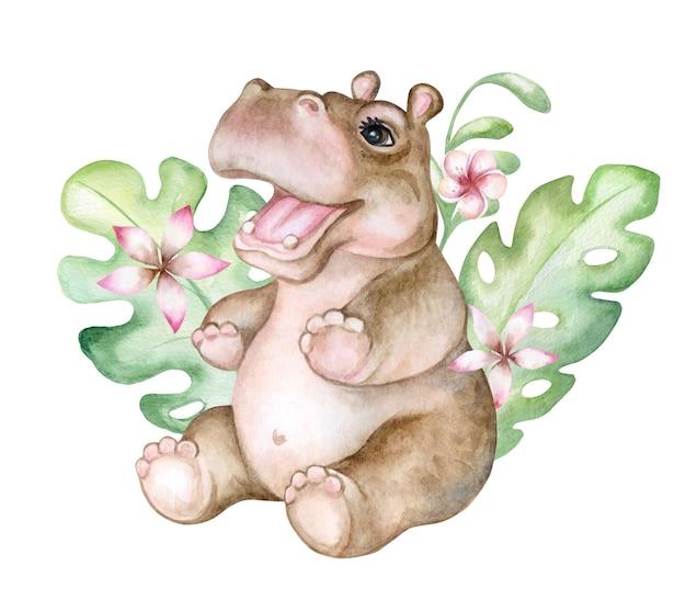 Bébé Hippopotame En Fleurs Tropicales Vecteur Premium