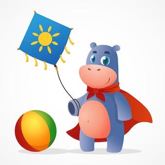 Bébé hippopotame de vecteur de dessin animé drôle en manteau rouge tenant un cerf-volant et jouant au ballon. illustration