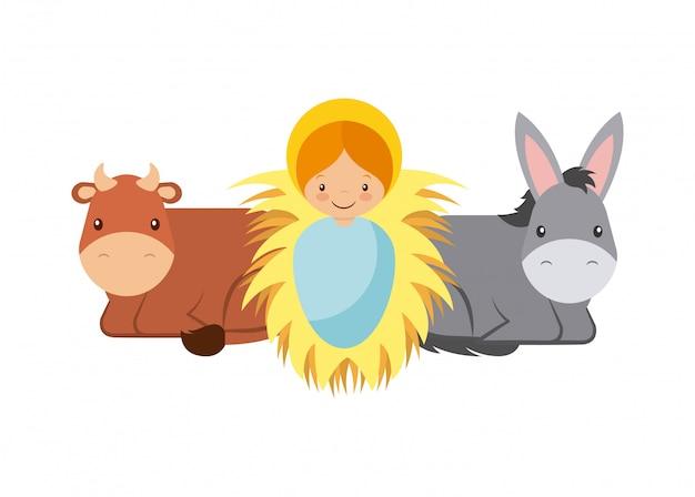 Bébé jésus avec des animaux
